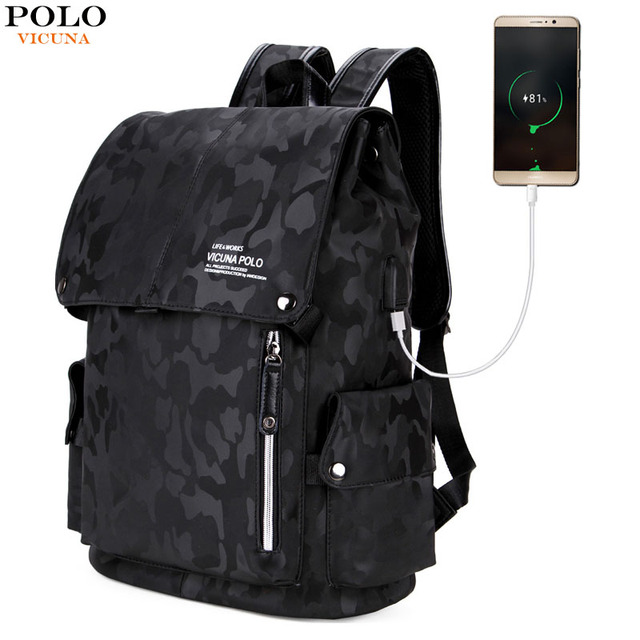 b139dbb7ee VICUNA POLO Leather Men Casual Camouflage Daypack With USB Charging For  School Laptop Backpack Large Capacity
