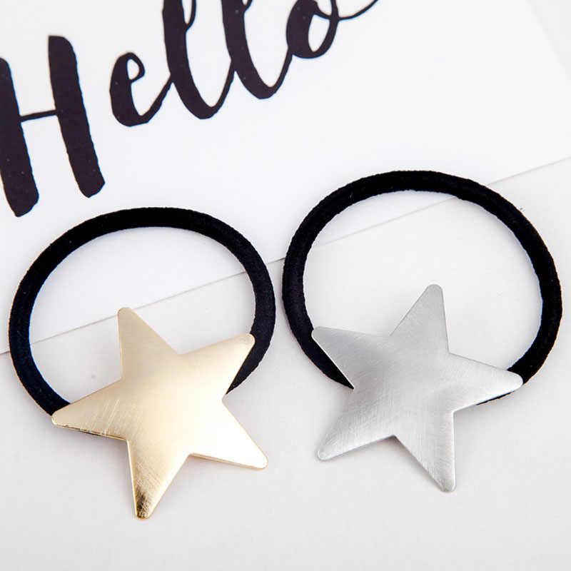 1PC Pentagramm Silbrig Goldene Haar Seil Stern Ziehbank Peeling Mädchen Flugzeug Elastische Haar Bands Frauen Haar Zubehör