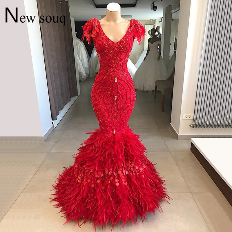 Couture Red Feather   Evening     Dresses   Dubai Arabic Islamic Party   Dress   Beaded Sequined Middle East Formal Gown Robe De Soiree New