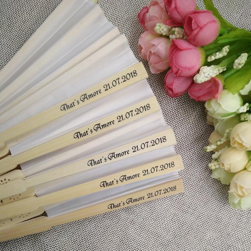 100pcs lot FREE SHIPPING Personalized Wedding White Silk Cloth Fan Wedding Favor Gift Hand Folding