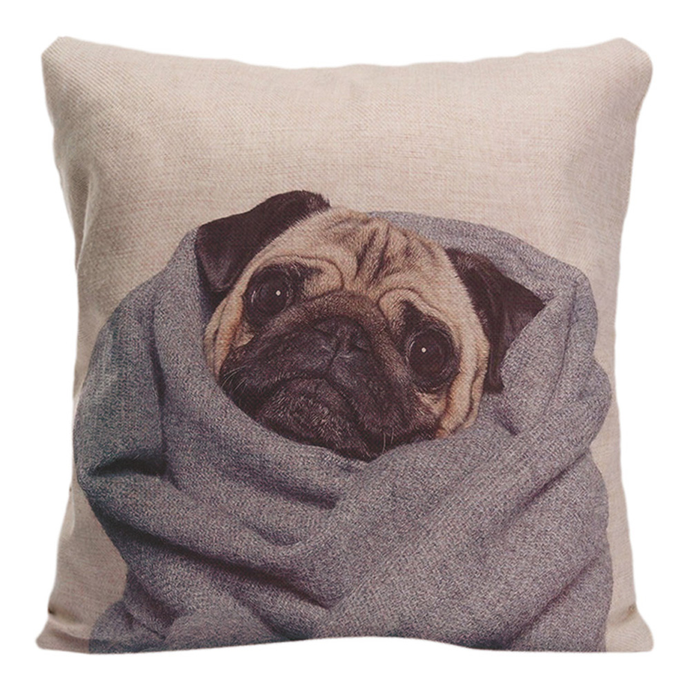 Cute Dog Cushion Cover A Pug With A Hat Decorative Pillow Case ...