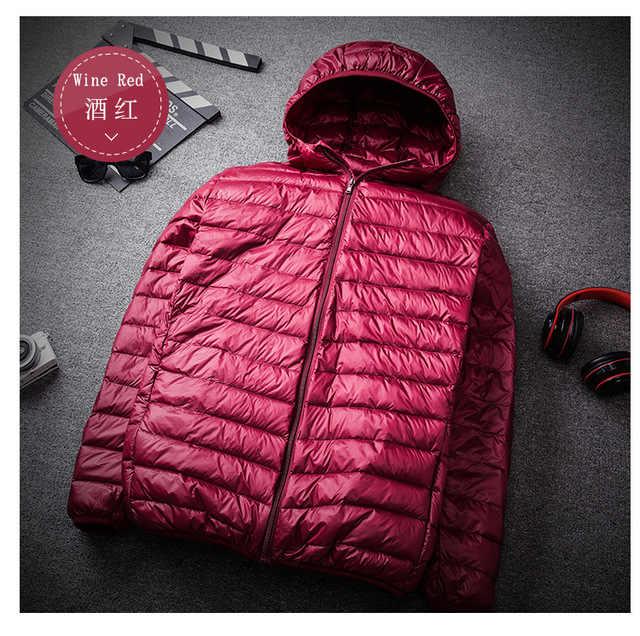 뚱뚱한 플러스 크기 8XL 9XL 10XL 11XL 최고 품질 울트라 라이트 다운 재킷 90% 화이트 오리 따뜻한 후드 남자 휴대용 재킷 코트