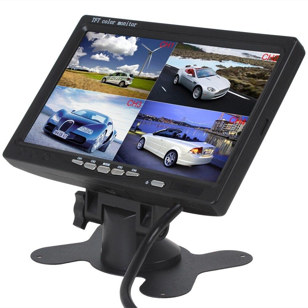 Auto 7 pouces 4 canaux entrée télécommande utilisation 4 écran partagé moniteur de voiture pour Bus camping-Car bateau voiture et système de sécurité Cctv
