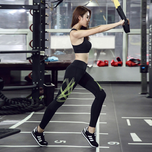 Hot Sale Fashion Sexy High Waist Stretched Slim Clothes Spandex Quick-Drying Women Sporting Leggings Fitness Printed Pants