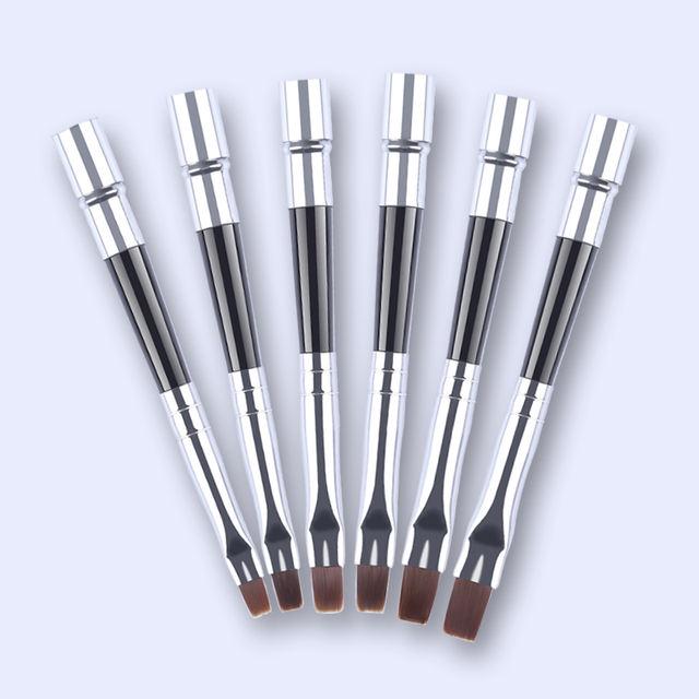 6Pcs Nail Art Painting Drawing Brush Pen Set Flat UV Gel Nail Brushes Kit with Detachable Cap Manicure Accessories Tool
