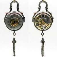 Antique Vintage Glass Ball Bull Eye Necklace Pendant Chain Quartz Pocket Watch