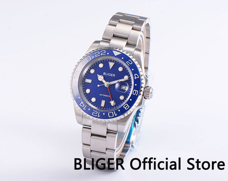 Sapphire Crystal 40mm BLIGER Blue Dial Blue Ceramic Bezel Luminous GMT Function Date Magnifier Automatic Movement Men's Watch solid bliger 40mm white sterile dial blue ceramic bezel gmt function luminous hand date clcok automatic movement men s watch b51