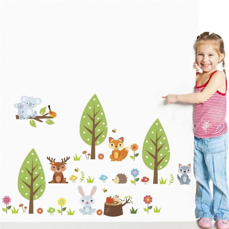 Cartoon Jungle wild Animals Rabbit deer Tree Flower wall