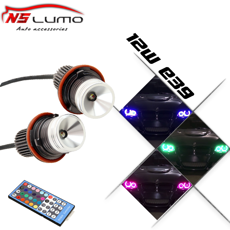 2x12W 24W High Power Cree Led Chips RGB Led Marker Angel Eyes IR Remote Control Color Changing For BMW E65 E87 E39 E60 E61