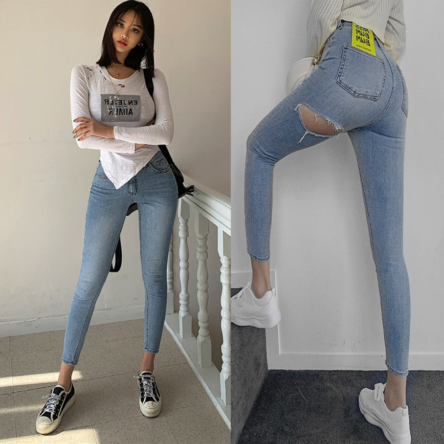 Korean Version Of The New Summer Light Blue High Waist Slim Slimming After The Hole Pants Jeans