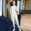 OFTBUY 2017 new spring autumn Casual fashion turtleneck ankle length trouser knitted tracksuit two piece set women  wool suits