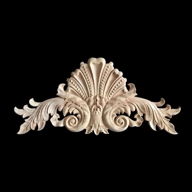 Antique Decorative Wood Appliques Furniture Decor Cabinet Door Irregular  Wooden Mouldings Flower Carving Figurine Craft - Antique Decorative Wood Appliques Furniture Decor Cabinet Door