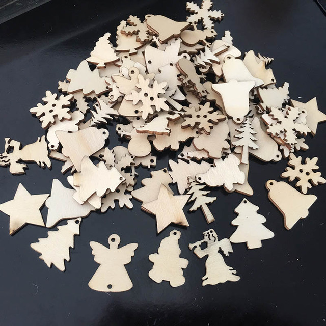 50Pcs/Lot Natural Wood Christmas Ornaments Reindeer Tree Snowflakes Bell Christmas Decorations For Home 2019 Navidad