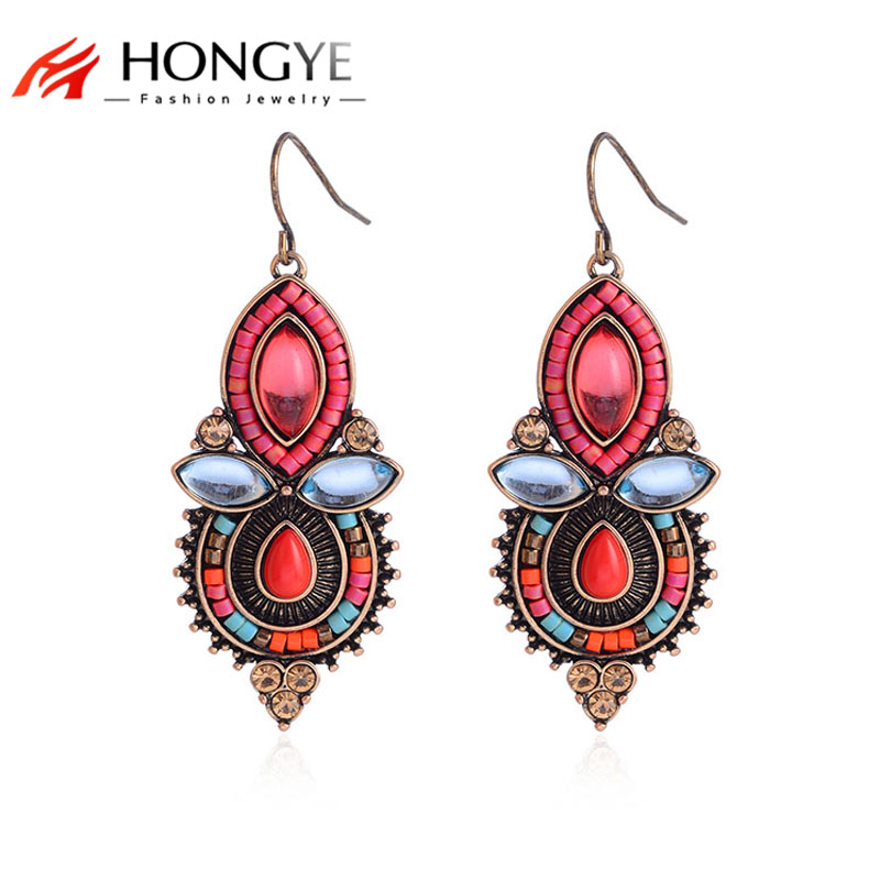 HONGYE New Antique Earrings Crystal Multicolor Beads Water Drop Dangle Earrings Pendientes Mujer Ethnic Jewelry Women Acessories