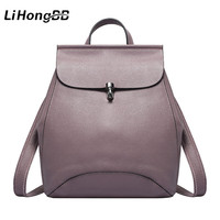LIHONGBAOBAO Fashion Cow Genuine Leather Women Backpack Anti Thief Casual School Bags For Teenagers Girls Female