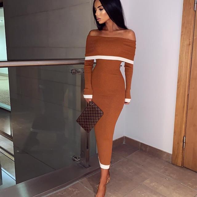 鹿の女性の包帯ドレス 2019 新着女性オフショルダー包帯ドレス長袖ボディコンミディドレス包帯パーティーセクシーな