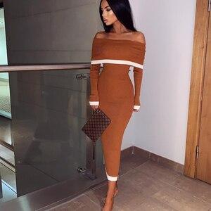 Image 1 - Deer Lady bandaża sukni 2019 nowości kobiety Off Shoulder bandażowy sukienka z długim rękawem Bodycon Midi sukienka bandaż Party Sexy