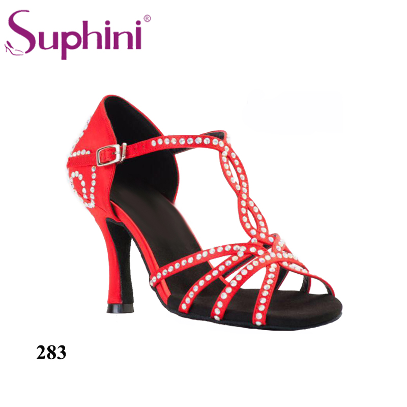 Free Shipping Suphini Crystal Colorful Flare Heel Latin Salsa Shoes Woman  Salsa Dance Shoes 013000256ecf