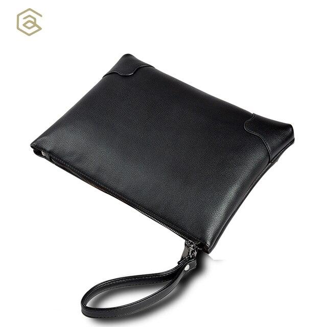 bce1ad95064c AHRI Men Business Casual bag for Male Black Soft PU Leather Men s Gentlemen  Fashion Shoulder Bag Vintage Envelope clutch Men Bag