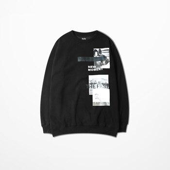 2018 winter new men's sweatshirt hoodies fleece retro casual hip hop printing round neck sweatshirts for men harajuku streetwear