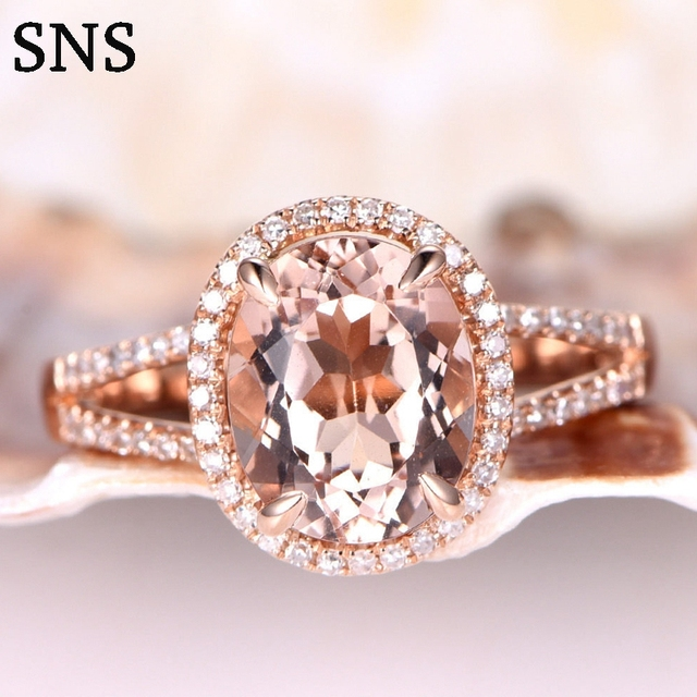 db6b8b0a0f639 US $388.8 10% OFF|8x10mm Pink Natural Morganite Engagement Ring Prong  Setting with Moissanite 14k Rose Gold for Women Promising Ring Luxury-in  Rings ...