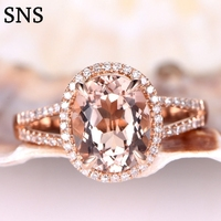 8x10mm Pink Natural Morganite Engagement Ring Prong Setting with Moissanite 14k Rose Gold for Women Promising Ring Luxury
