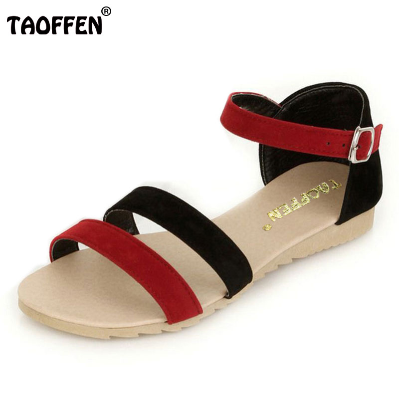 TAOFFEN women ankle bohemia strap slippers sandals brand sexy fashion ladies suede leather footwear shoes P23524 size 34-43 fitzgerald the love of the last tycoon