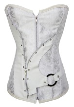 Black / White Steel Bone Brocade Steampunk Corset