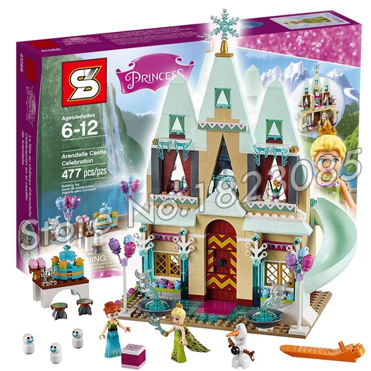 ФОТО 489pcs SY371 Princess Series Arendelle Castle Celebration Building Bricks Blocks Figures Girls Friends Toys Compatible With Lego