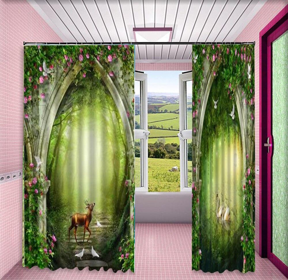 Rideau 3d fantaisie forêt Linglu fleur Arches 3D animaux rideaux salon chambre belle pratique rideaux occultants - 3