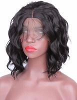 COLODO Short Wavy Bob Hair Cut Synthetic Lace Front Wig Natural Hairtyle Shoulder Length Lace Wig