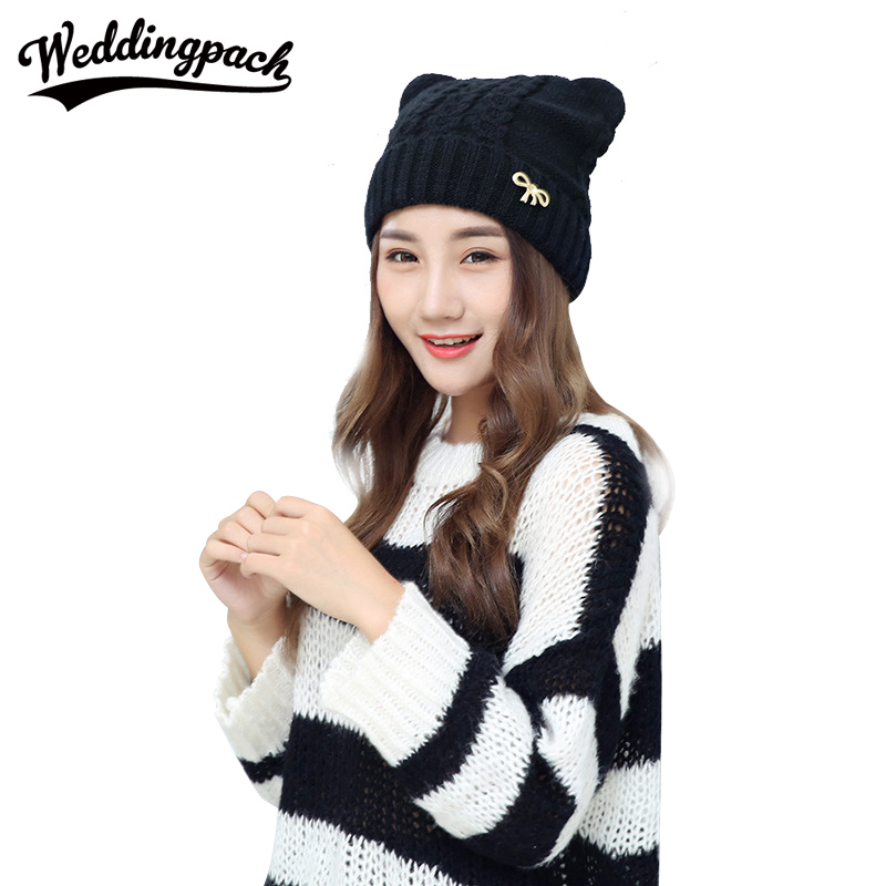 Solid Knitted Women Beanies Caps Winter Wool Women Hats With Bow Autumn Ear Protect Female Hat Warm Square Wome's Accessories nicefoto k80 120cm umbrella frame photo studio square softbox soft box for all strobe flash lighting