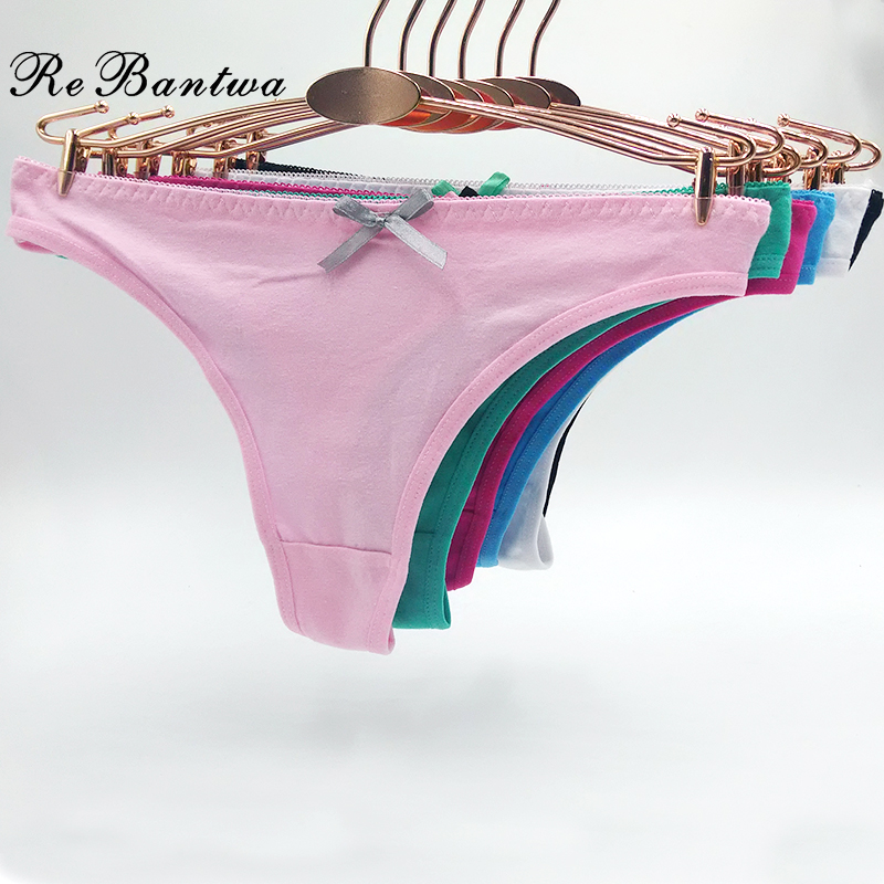 Rebantwa 10pcs Lot Funny Underwear For Women Sexy G string Panties Solid Color Cute Thongs Knickers Cheap Cotton Panties