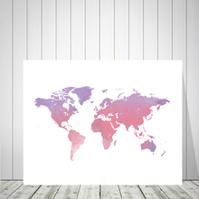 Canvas Art Print Watercolor Big Pink World Map Nordic Posters And Prints Wall Painting Pictures For Living Room