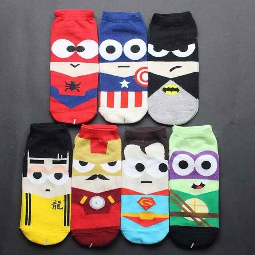 10 stuks = 5pairs = 1 Lot marvel heroes superheroes superman batman spiderman amerikaanse katoen sok slippers onzichtbare sok