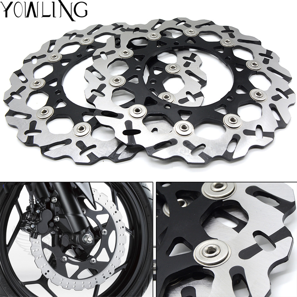 2 PCS (Left+Right) GOOD Motorcycle Front Floating Brake Disc Rotor for YAMAHA YZF R1 YZF-R1 2007 2008 2009 2010 2011 2012 2013 motoo motorcycle front and rear brake pads for honda xrv750 africa twin 1994 2003