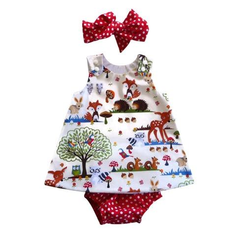Bear Leader Baby Girls Clothing Sets 2019 New Brand Three Piece Sets Short Pants+Hair Band+Dress Printing Patten For Baby 6-24M Islamabad