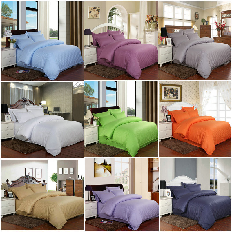 100% Cotton bedding set  satin strip Luxury White Hotel bed linen Twin Queen Full King Size Duvet cover&Fitted sheet&Pillowcase