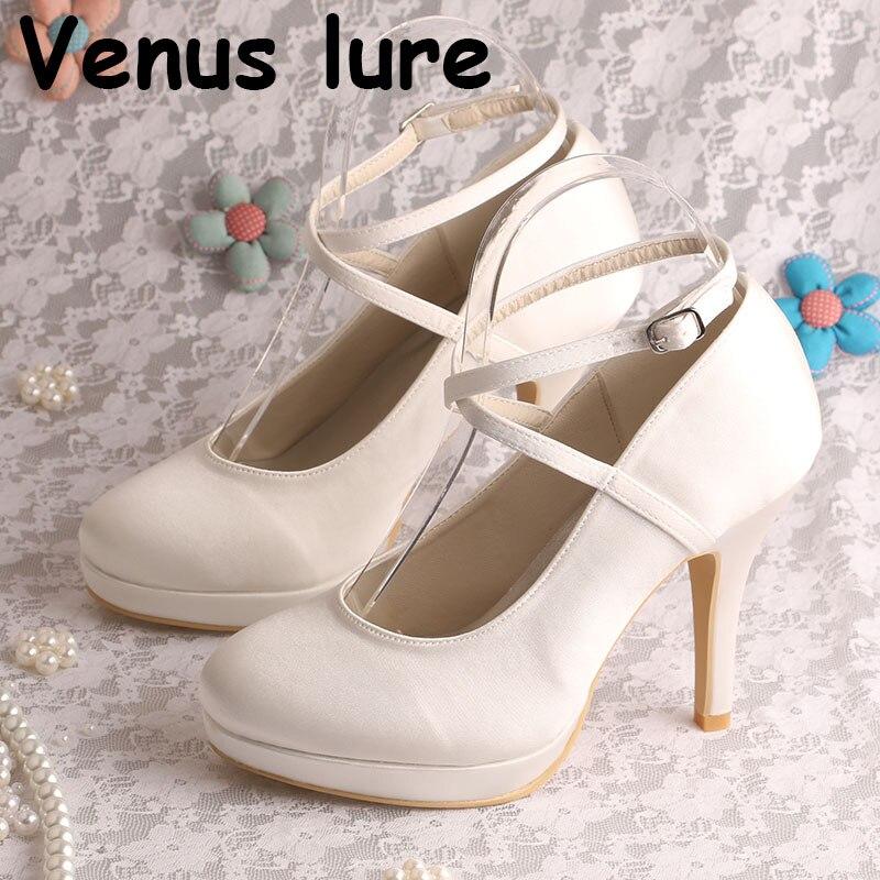 Off white Platform Satin Eveing pro Wedding Shoes High Heeled Prom ShoesOff white Platform Satin Eveing pro Wedding Shoes High Heeled Prom Shoes