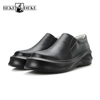 European Thicken Platform Mens Casual Shoes 2018 British Genuine Leather Man Footwear Slip On Creeper Comfort