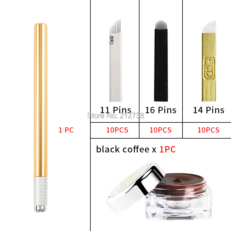 Image 3 - Microblading learner kits for eyebrow tattoo permanet makeup  beauty with 30 needle blade 5 practise skin1 deep coffee  pastemicroblading kitmicroblade eyebrow kiteyebrow microblading kit -