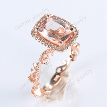 Solid 14k Rose Gold Engagement Fine Ring 6x8mm Cushion 1.28ct Natural Morganite Romantic Fashion Jewelry 0.12ct SI Diamonds Halo