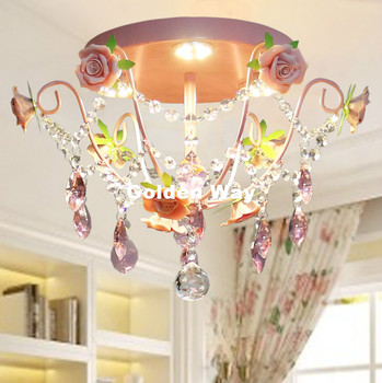 Free Shipping Children Ceiling lamps Pinky Kids Bedroom light Floral Rose Design Ceiling Light LED Light Source Home Decoration