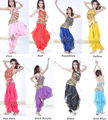Belly Dance Costume Peppers Top Bra With Gold Wavy Harem Pants Skirt Set 8 Color
