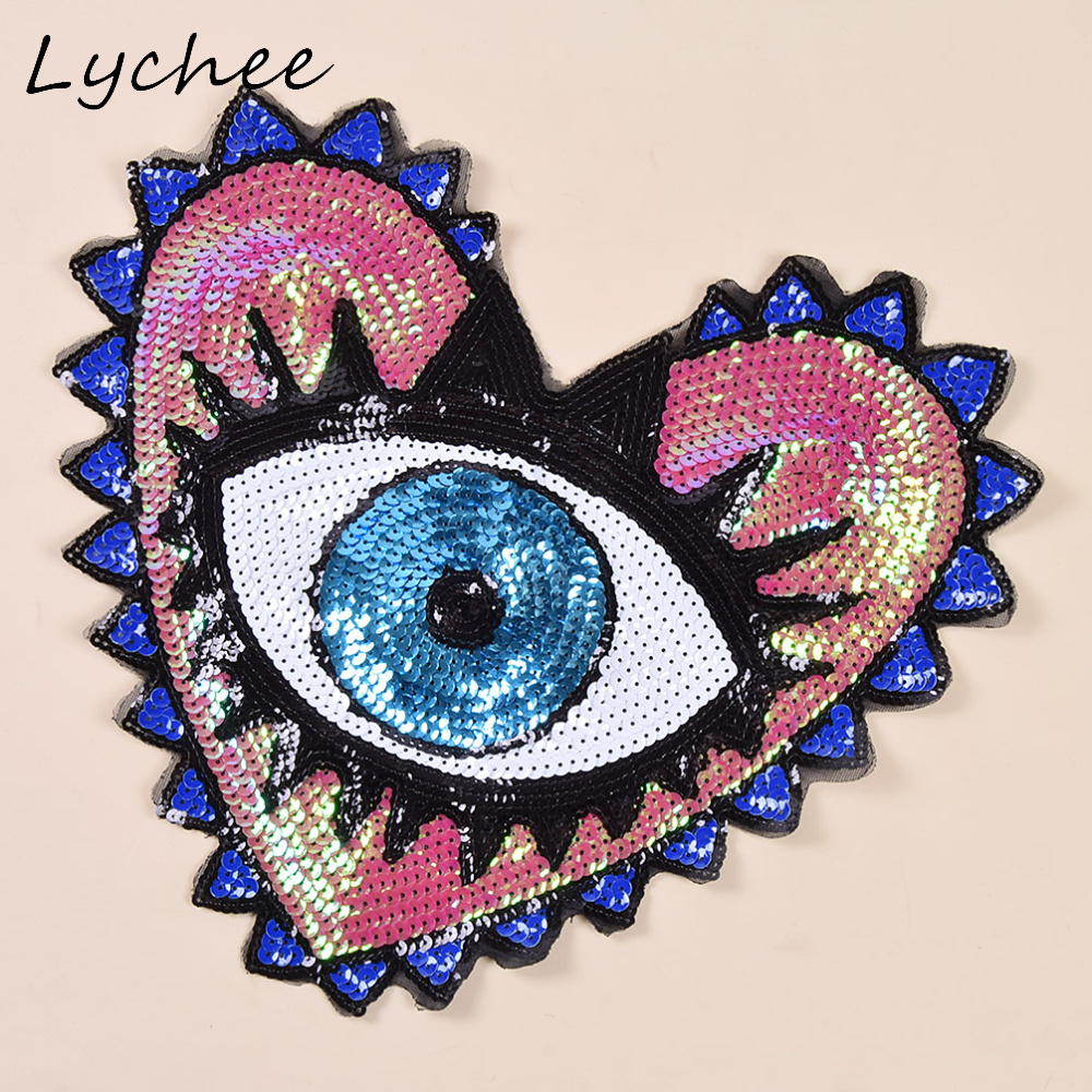 Love Hearts Embroidery Iron on Patches Clothes Badges DIY Sewing Eyes Applique