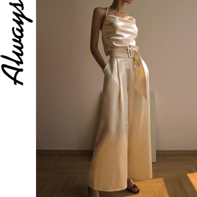 Satin baggy palazzo trousers bell bottom   wide     leg   loose office   pants   women womens womens clothing clothing