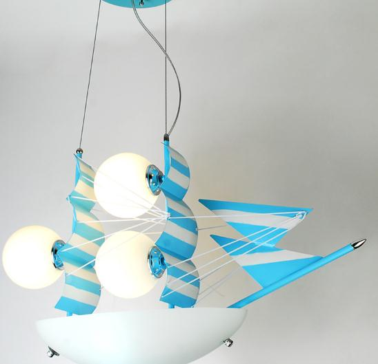 modern led cartoon Blue sailing child bed room pendant light