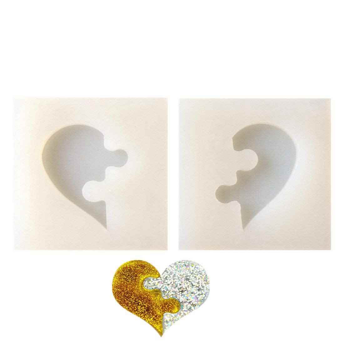 2 pcs/set Heart-shaped Puzzle Jigsaw Jewelry Silicone Mold with Hole for Polymer Clay,Crafting, Resin Epoxy,Pendant Earrings M