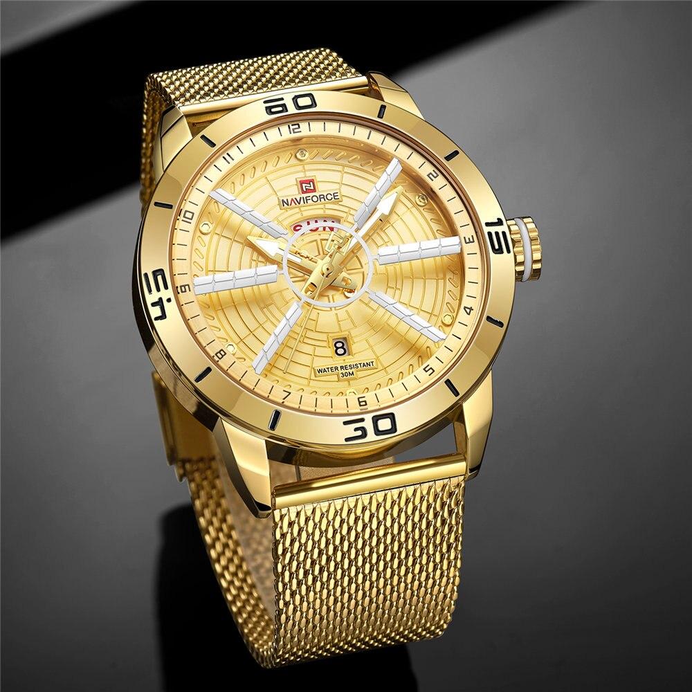 Mens Watches Top Brand Luxury NAVIFORCE Men's Wristwatch Quartz Watch Analog 30M Waterproof Fashion Gold Clock Relogio Masculino