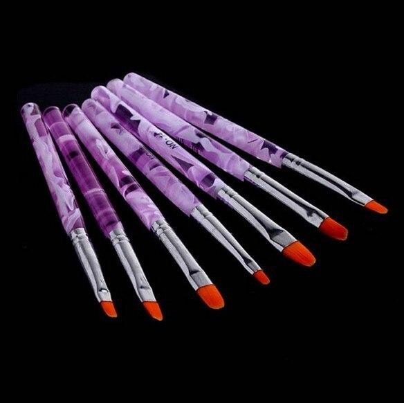 Professional 7pcs Nail Brushes Tools Nail Art Design Painting Tool Pen Polish Brush Set Kit Beauty Nail Art Brush Set